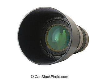 glass eye - white zoom telephoto lens 70-200 with blend...