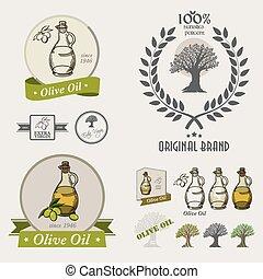 Set of olive oil labels,logos badges and design elements.
