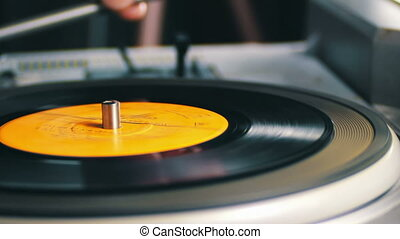 Old Vinyl Record Spinning