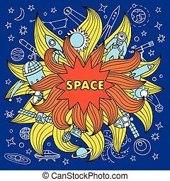 Doodle space color elements