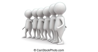 3d guys holding hands togheter concept in white isolated...