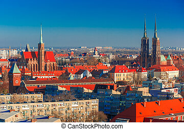 Aerial view of Wroclaw in the morning - Aerial view of...
