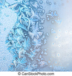 abstract winter frost patterns on window, festive background, close up
