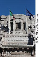 Facade of Central railway station, Milan - Modernist facade...