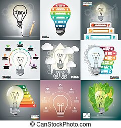 Business infographic template set with lightbulb. Vector...