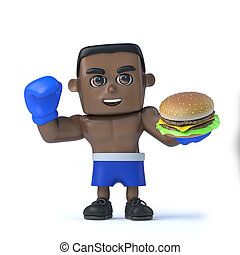3d Black boxer has a beef burger - 3d render of a black...