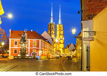 Cathedral of St John at night in Wroclaw, Poland - Cathedral...