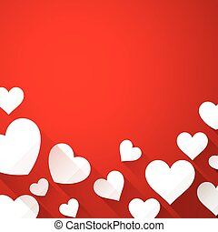 Valentines background with white hearts - Valentines red...