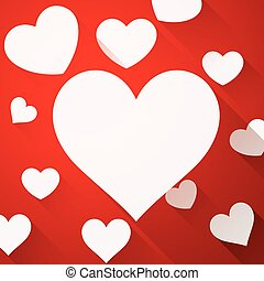 Valentines card with white hearts - Valentines red card with...