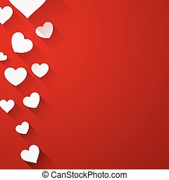 Valentine background with white hearts - Valentine red...