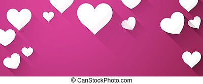 Valentines background with white hearts - Valentines pink...