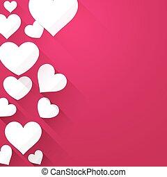 Valentine background with white hearts - Valentine pink...