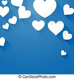 Valentine background with white hearts - Valentine blue...