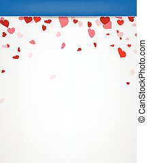 Valentine background with hearts. Vector paper illustration.