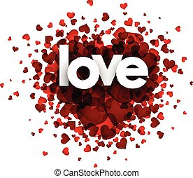 Love card with heart - Love card with red heart Vector paper...