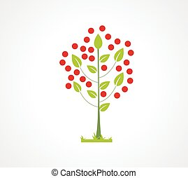Abstract apple tree flat icon Logo element for your design