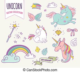 cute magic collection with unicon, rainbow, fairy wings and...