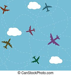 Cartoon airplane path seamless pattern - Cartoon airplane...