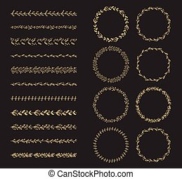 vector brush and laurel wreath set
