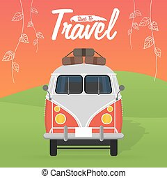 Camper van. Summer vacation. Vector illustration. Time to...