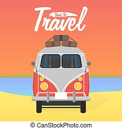 Camper van Summer vacation Vector illustration Time to...