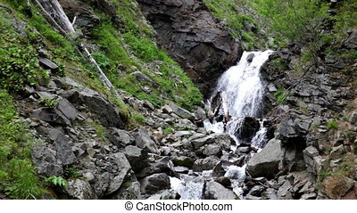 Wild waterfall in summer forest