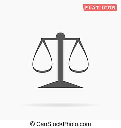 justice scale simple flat icon - Justice scale Icon Vector...