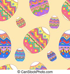 Vector Easter background with eggs hand drawn