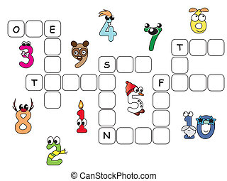 numbers crossword - game for children: crossword with...