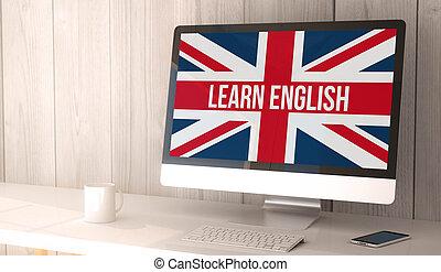 desktop computer learn english - digital render generated...