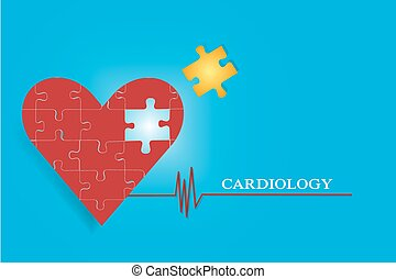 Cardiology concept vector - One big heart of pieces of...