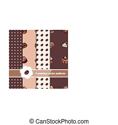 Collection of seamless patterns with stylized chocolate...