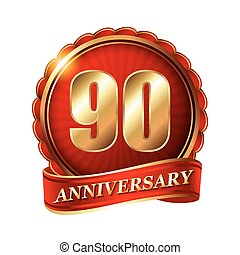 90 years anniversary golden label with ribbon