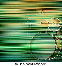 abstract grunge background with drum kit - abstract green...