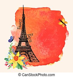 Eiffel tower,Watercolor spot,Narcissus bouquet.Paris card -...