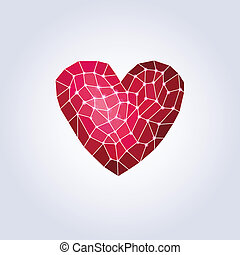 Polygons pink heartLow poly - Polygonal heartVectorValentine...