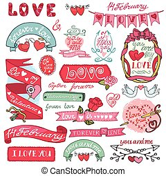 Valentine`s day setLabels, emblems,frame,hearts,decorative...