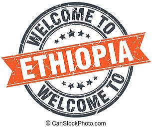 welcome to Ethiopia orange round ribbon stamp