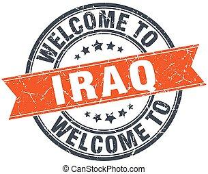welcome to Iraq orange round ribbon stamp