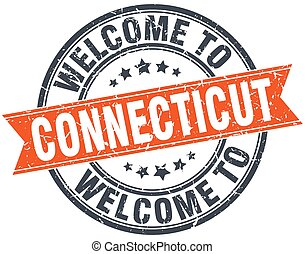 welcome to Connecticut orange round ribbon stamp