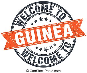 welcome to Guinea orange round ribbon stamp