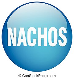 nachos blue round gel isolated push button