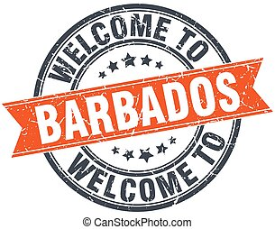 welcome to Barbados orange round ribbon stamp