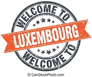 welcome to Luxembourg orange round ribbon stamp