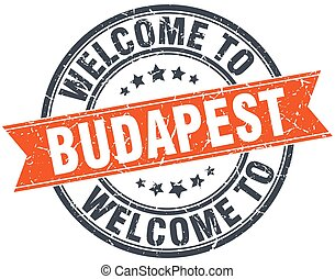 welcome to Budapest orange round ribbon stamp