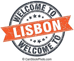 welcome to Lisbon orange round ribbon stamp