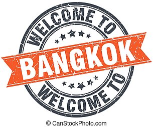 welcome to Bangkok orange round ribbon stamp