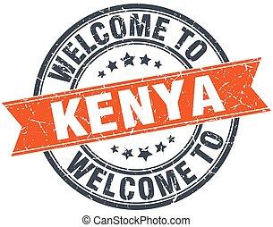 welcome to Kenya orange round ribbon stamp