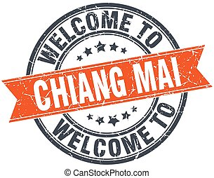 welcome to Chiang mai orange round ribbon stamp