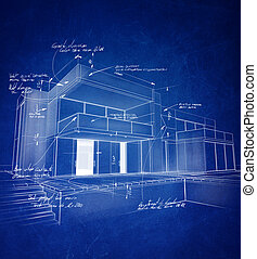 Chalk technical blueprint - Technical architecture drawing...